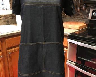 Japanese style apron, Small, Blue Denim, chefs apron, cross back apron, pinafore, smock