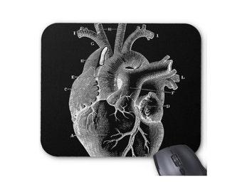 Black Heart Mouse Pad, Vintage Anatomical Illustration Mousepad