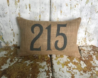 Personalized Address House Number Burlap Pillow Throw Accent Pillow Custom Colors Available Hostess Gift Home Decor