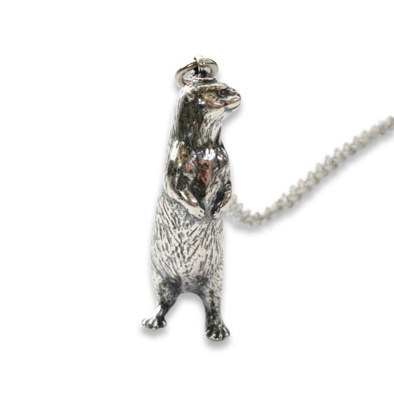 Silver otter necklace otter pendant 400 like this item aloadofball Images