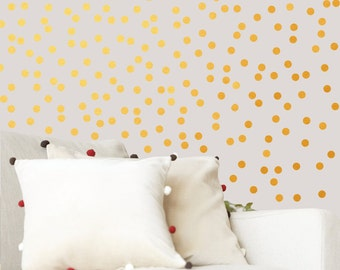 Gold Polka dot wall decals -  Gold Polka dot - Polka-dot wall stickers - Polka Dots decor- Vinyl Polka dots pattern - Bedroom Nursery decor