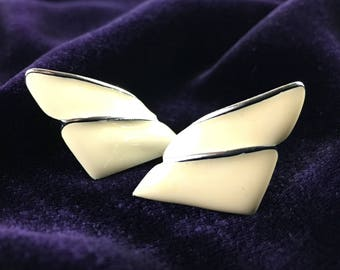 Vintage 80's Peach & Silver Enameled Wing Stud Statement Earrings