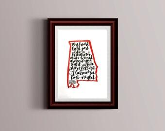 Stars Fell on Alabama - Custom Handlettered Print - Brush Lettering, Calligraphy, Hand lettering