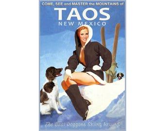 Taos New Mexico Snow Ski Winter Sports Travel Poster Brittany Spaniels Sangre de Cristo Mountains Art Print 328