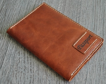 Leather Passport Cover Hand-stitched Brown Pull Up