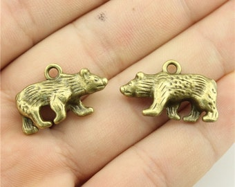 4 Bear Charms, 2 Sided, Antique Bronze Tone (1G-94)