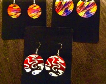 Set of 3 of my new rubber earrings..FREE SHIPPING