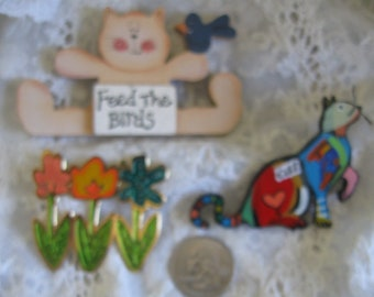 Three Colorful Pins Brooches Cats Flowers