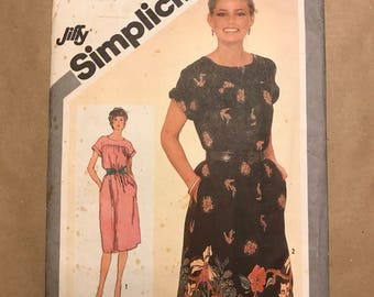 Vintage 1980 Sewing Pattern - Simplicity 9827 - Dress
