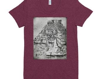 2020 Etching Artwork, Women's Crew Neck T-shirt, Red Rose Grace Original