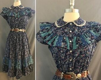 Vintage Hippie Chic Cotton Calico D.B.A.L.A 1970's Prairie Style Dress
