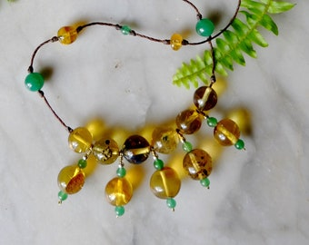 Amber necklace from Mexico - amber bells