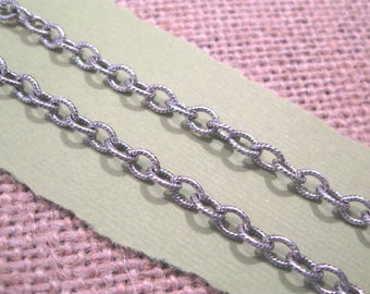 Etched 5x4mm Cable Chain from Nunn Design in Antique Silver - 3 Feet