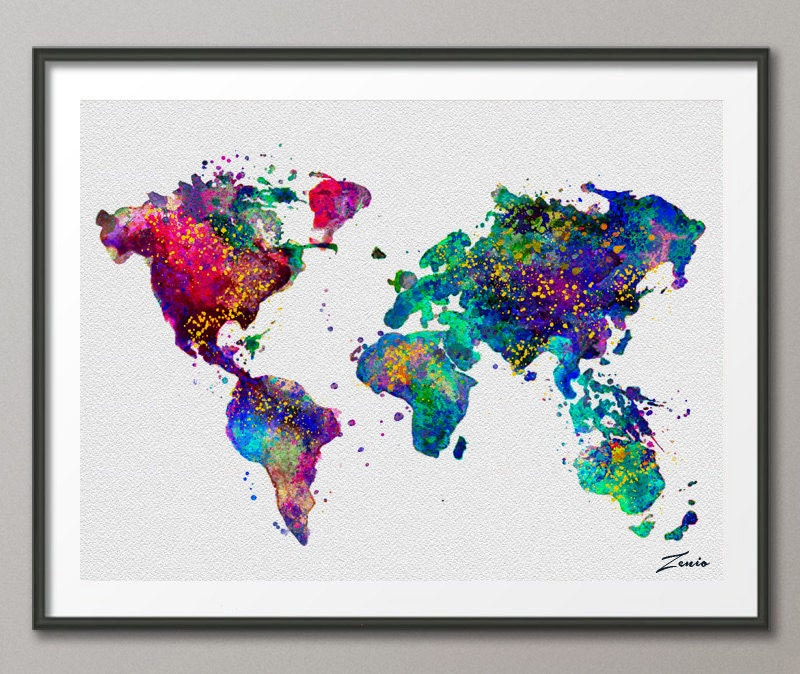 Watercolor world map watercolor poster watercolor art zoom gumiabroncs Image collections