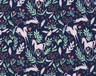 Navy Magic Folk Flannel from Sarah Jane for Michael Miller - cotton flannel dark blue FD7190-NVY pink unicorns bunnies rabbits forest