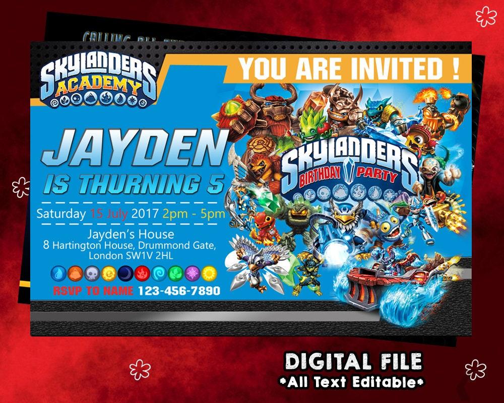 Nice skylanders party invites vignette invitations example colorful skylanders birthday invites collection invitations filmwisefo