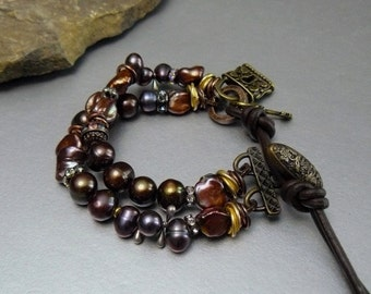 Natural Smoky Pearl Bracelet with Gold accents and Soft Brown Leather clasp and Antique Button - Charms
