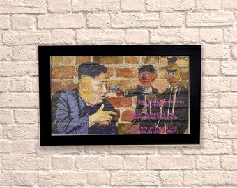 Industrial Bert Ernie Black Frame Brick Wall Graffiti Style Artwork. Graffiti Art. Steampunk & 3D Ceramic Brick Panels and Framed. UK MADE
