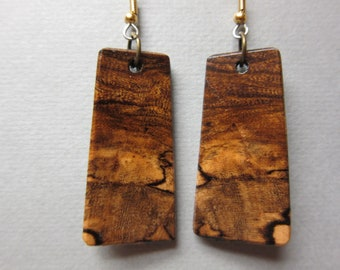 Hackberry Exotic Wood Earrings Handcrafted good patterns drop dangle ExoticWoodJewelryAnd