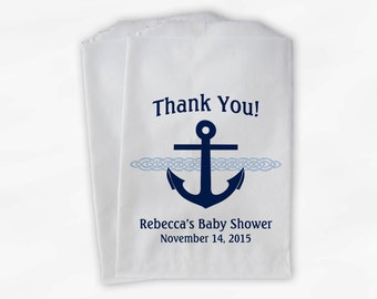 Nautical Anchor Baby Shower Favor Bags - Personalized Navy Blue and Baby Blue Custom Treat Bags for Candy Buffet - 25 Paper Bags (0047)