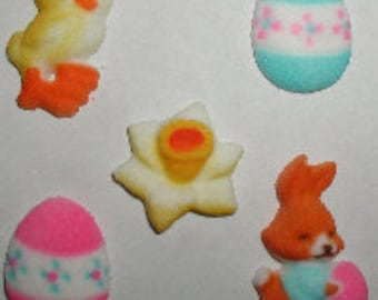 Deluxe Easter Sugar Decorations, 5 Pack - For Easter Cake And Chocolate Decorating