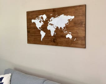Large Big World Map on Wood - Rustic Farmhouse Style Decor - Rustic Decor - Nursery Decor - Wall Art, White Map - Travel Wooden Map