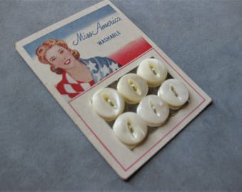 Vintage Carded Miss America Washable Buttons