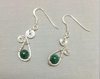 Malachite Earrings, Natural Malachite Earrings, Sterling Silver Earrings, Wire Wrapped Earrings, Wire Wrapped Malachite, Green earrings