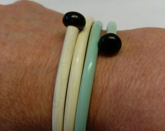 Handmade vintage knitting needle bangles
