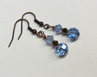 Swarovski Crystal Dangle Earrings - Light Sapphire - Pale Blue - Light Blue