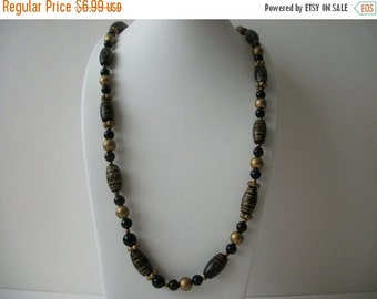 ON SALE Vintage Black Gold Long Carved Plastic Acrylic Beads Necklace 72916