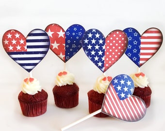 4th of July cupcake toppers, Printable 4th of July toppers, 4th of july party, Printable 4th of July decor, Printable july 4th heart toppers