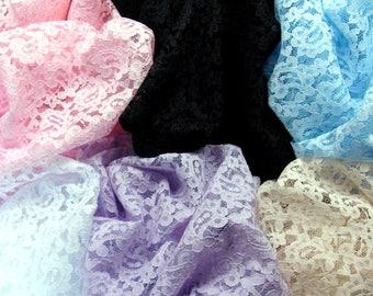 Mesh Net Lace Fabric Floral Pink White Black Blue Purple Beige 1yd #