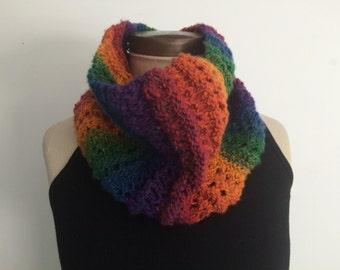 Knit Openwork Rainbow Cowl/Neckwarmer/Infinity Scarf - FREE U.S. SHIPPING