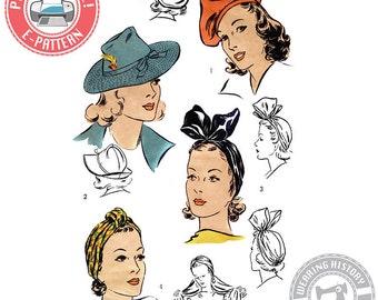 "E-Pattern- 1940s Hat Wardrobe Size 22""- Beret- Turban- Fedora-  PDF Download Vintage Wearing History Sewing Pattern"