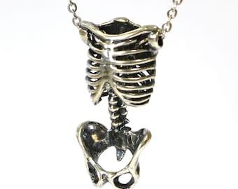 Skeleton Torso Necklace Silver Anatomical Human Skeleton Pendant Necklace  Pelvis Rib Cage 083 037