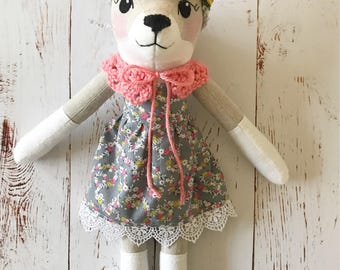Wolf Doll: handmade heirloom rag doll, wolf girl with grey floral dress, coral collar
