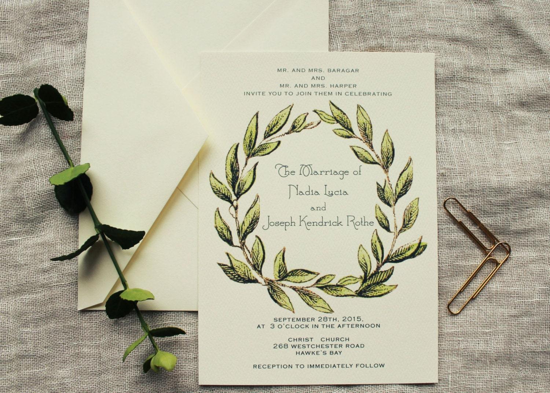 Wreath Wedding Invitation Set Winter Wedding Invitation