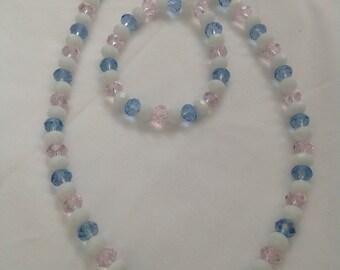 Beautiful pastel beaded necklace and bracelet