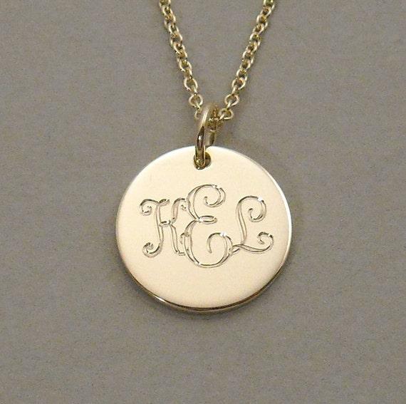 Items similar to 14ky gold engraved monogram pendant necklace triple items similar to 14ky gold engraved monogram pendant necklace triple initial 12 inch round circle disc udlos gold on etsy aloadofball Choice Image