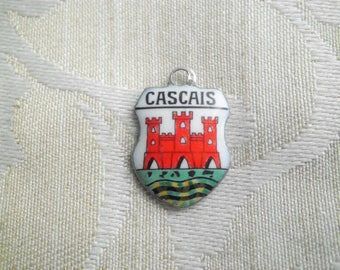 Vintage Silver CASCAIS Portugal Travel Shield Charm