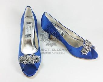 Blue Wedding Shoes, Something Blue, Crystal Wedding Shoes, Blue Bridal Shoes, low heel Wedding Shoes, High Heel Wedding shoes, Capri