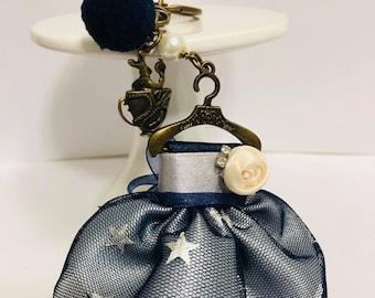 Vintage Elegant Cute Blue Dress Keychain