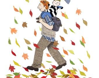 PASEO ventoso, un papá y su niño medio hojas arremolinadas. Tarjeta perfecta para dar a cualquier padre con un hijo. Tarjeta impresa de collage original.