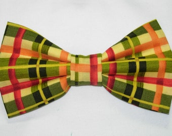 Autumn Plaid Pre-tied Bow Tie | Red, Green, Orange bow ties | Wedding bow ties | bow ties for men & boys | fall bow ties | Plaid ties