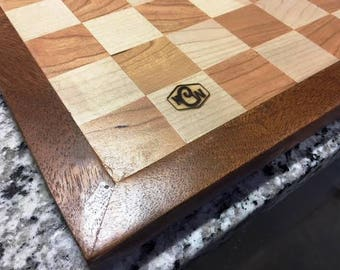 Cherry and Maple Chess/Checker Board Made from Recycled Wood