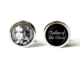 Father of the Bride Cufflinks - Custom Cufflinks - Custom Wedding Date Cufflink - Picture Cuff Links - Father of the Bride Cuff Links