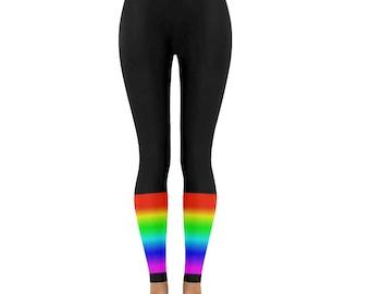 Rainbow leggings black leg warmer style pride low rise leggings capri alternative fashion unique leggings digital print