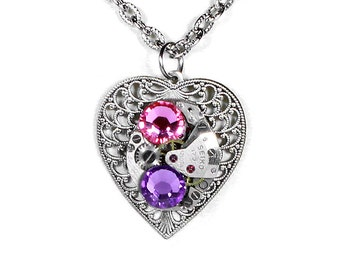 Steampunk Jewelry Necklace SEIKO Watch Silver Filigree HEART Pink Lilac Crystal Wedding Bridesmaids, Mothers Day Gift - Steampunk Boutique