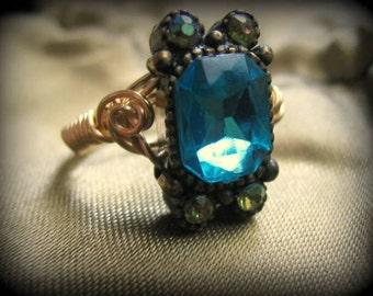 Vintage Piece Blue & Aurora Borealis Rhinestone Antique Style Ring Choose Your Size